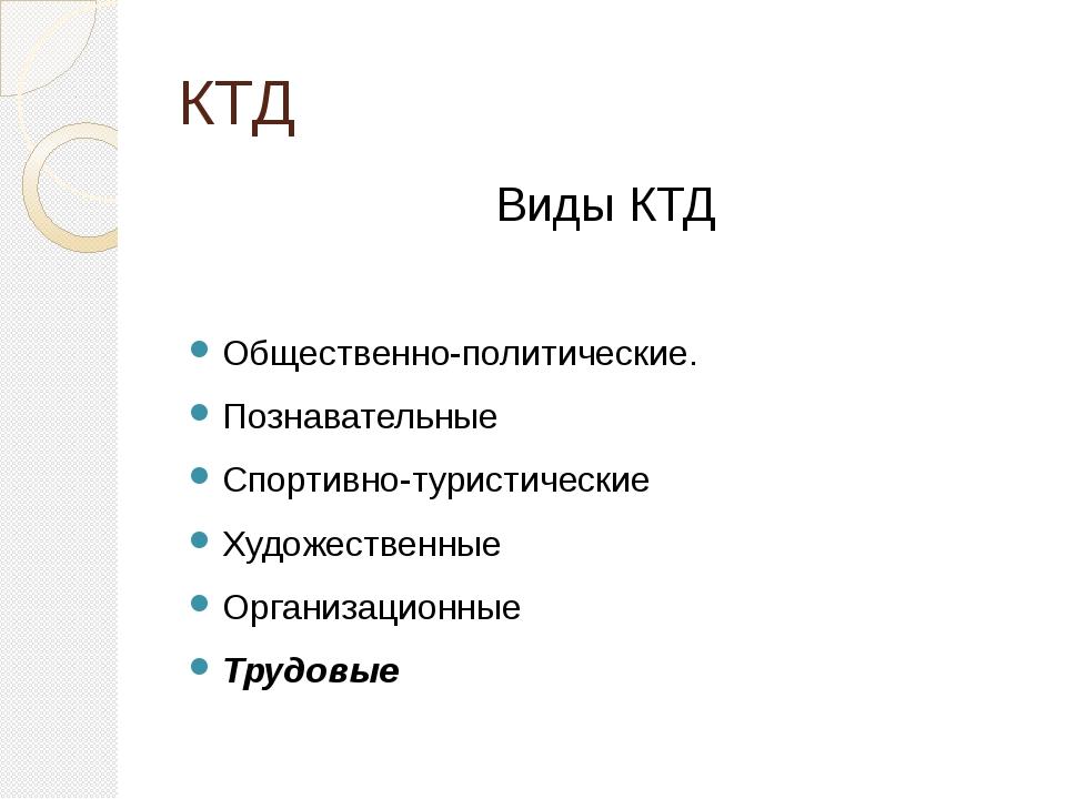 КТД Виды КТД Общественно-политические. Познавательные Спортивно-туристические...