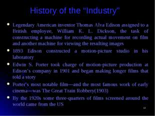 "* History of the ""Industry"" Legendary American inventor Thomas Alva Edison as"