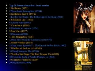 * Top 20 International-best loved movies 1 Godfather, (1972) 2 Shawshank Rede