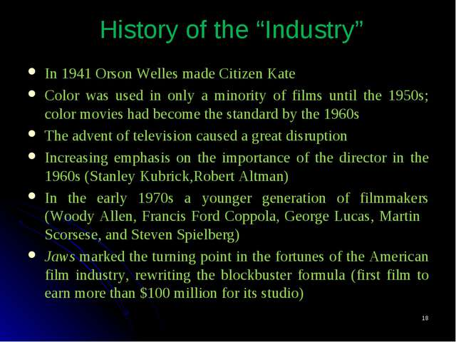 "* History of the ""Industry"" In 1941 Orson Welles made Citizen Kate Color was..."