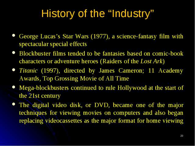 "* History of the ""Industry"" George Lucas's Star Wars (1977), a science-fantas..."