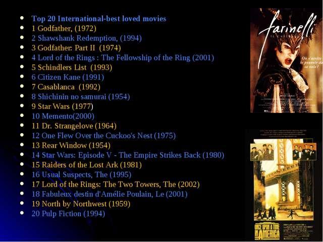 * Top 20 International-best loved movies 1 Godfather, (1972) 2 Shawshank Rede...