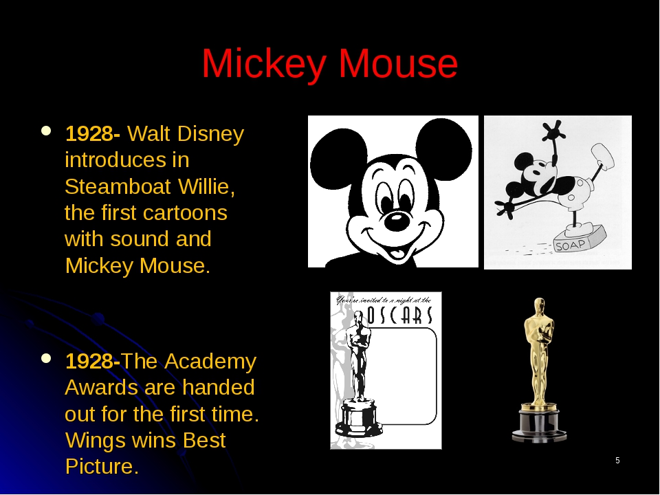 * Mickey Mouse 1928- Walt Disney introduces in Steamboat Willie, the first ca...