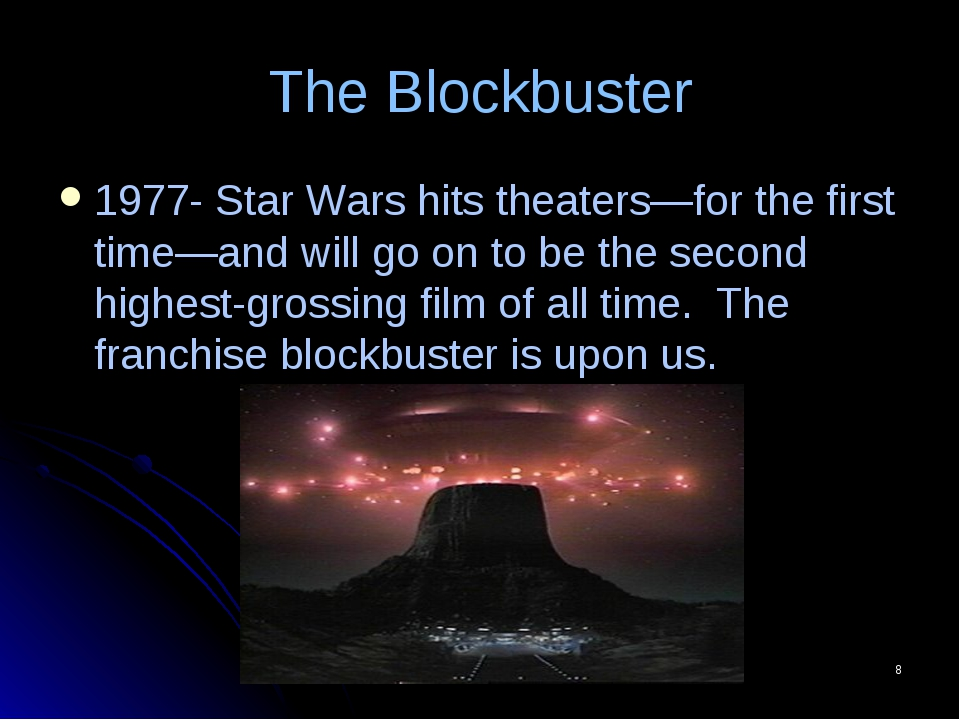 The Blockbuster 1977- Star Wars hits theaters—for the first time—and will go...