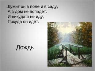 Дождь Шумит он в поле и в саду, А в дом не попадёт. И никуда я не иду, Покуда
