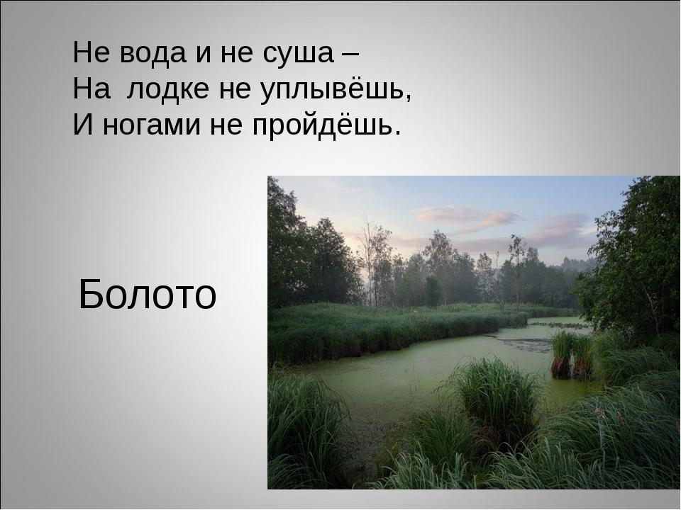 Болото Не вода и не суша – На лодке не уплывёшь, И ногами не пройдёшь.