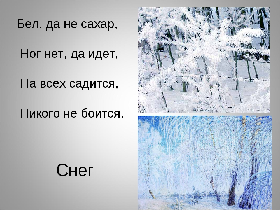 Снег Бел, да не сахар, Ног нет, да идет, На всех садится, Никого не боится.