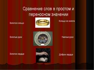 Сравнение слов в простом и переносном значении Золотое кольцо Золотые руки Зо