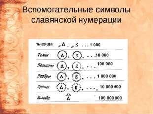 Вспомогательные символы славянской нумерации