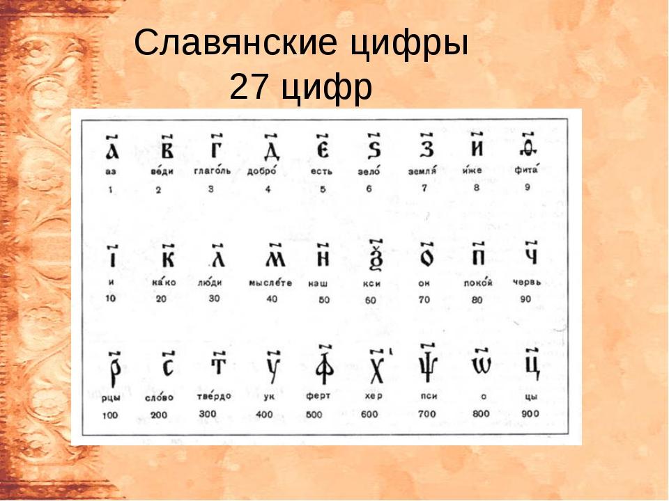 Славянские цифры 27 цифр