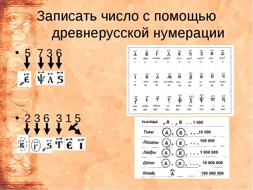 Записать число с помощью древнерусской нумерации 5 7 3 6 2 3 6 3 1 5