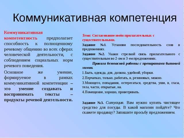 Коммуникативная компетенция Коммуникативная компетентность предполагает спосо...