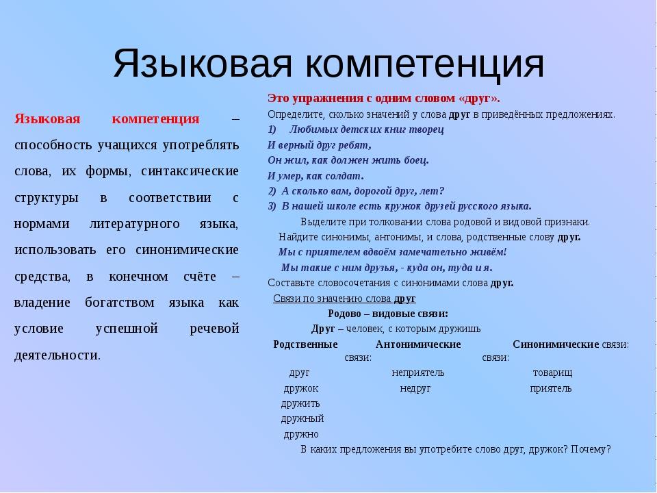 Языковая компетенция Языковая компетенция – способность учащихся употреблять...