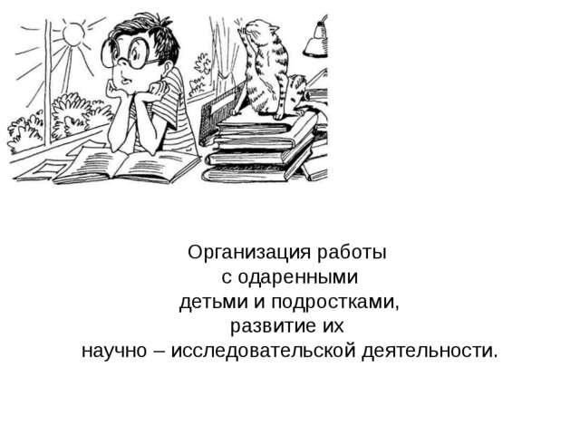 Организация работы с одаренными детьми и подростками, развитие их научно – ис...