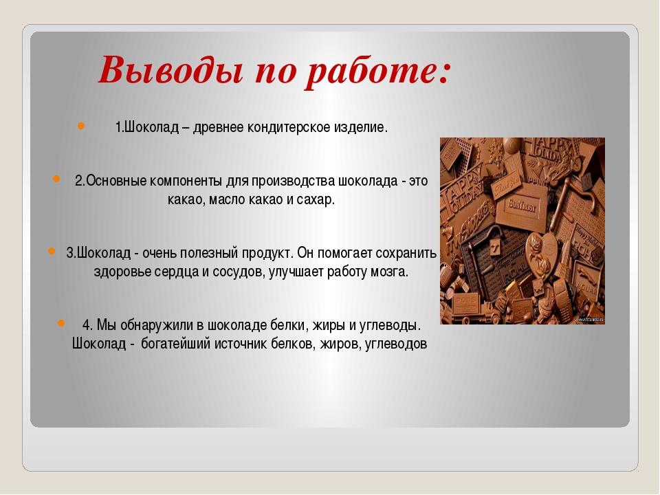 Выводы по работе: 1.Шоколад – древнее кондитерское изделие. 2.Основные компо...