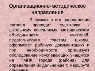 Организационно-методическое направление В рамках этого направления логопед пр