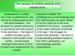 The causes of conflict parents and adolescents Adolescents in conflict: the c