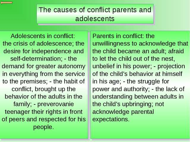 The causes of conflict parents and adolescents Adolescents in conflict: the c...