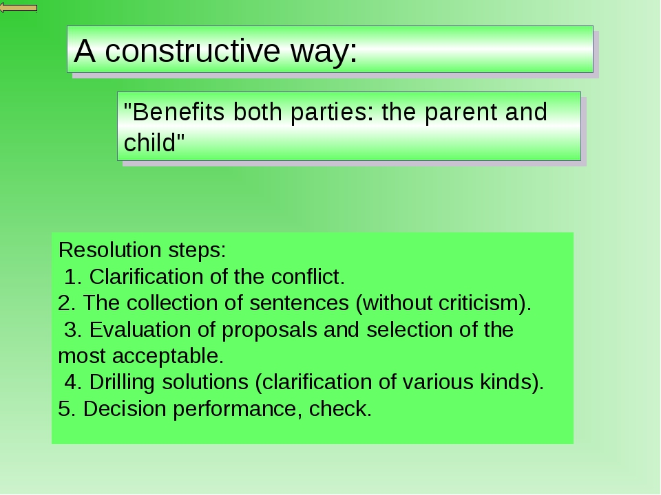 """A constructive way: """"Benefits both parties: the parent and child"""" Resolution..."""