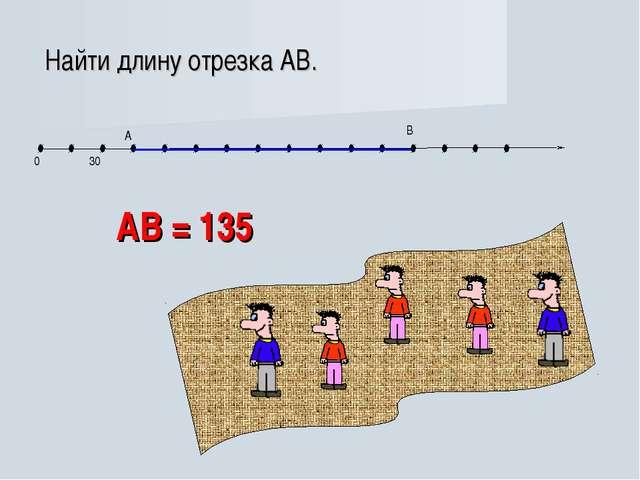 АВ = 135 Найти длину отрезка АВ.