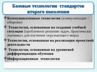 Базовые технологии стандартов второго поколения Коммуникативные технологии (