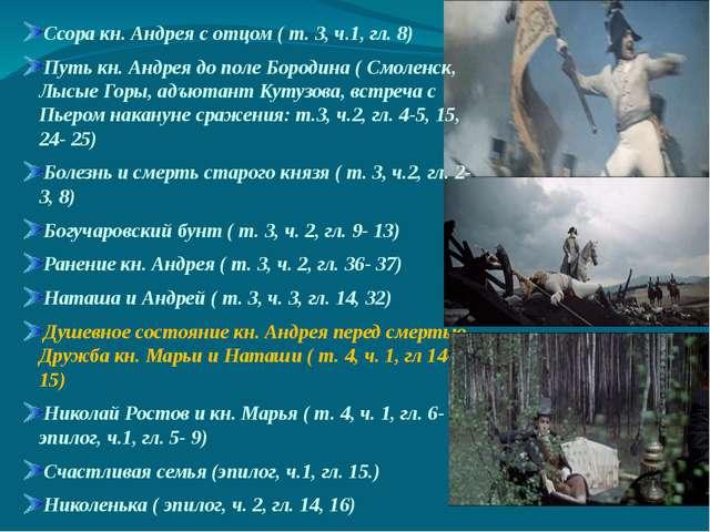 Ссора кн. Андрея с отцом ( т. 3, ч.1, гл. 8) Путь кн. Андрея до поле Бородин...
