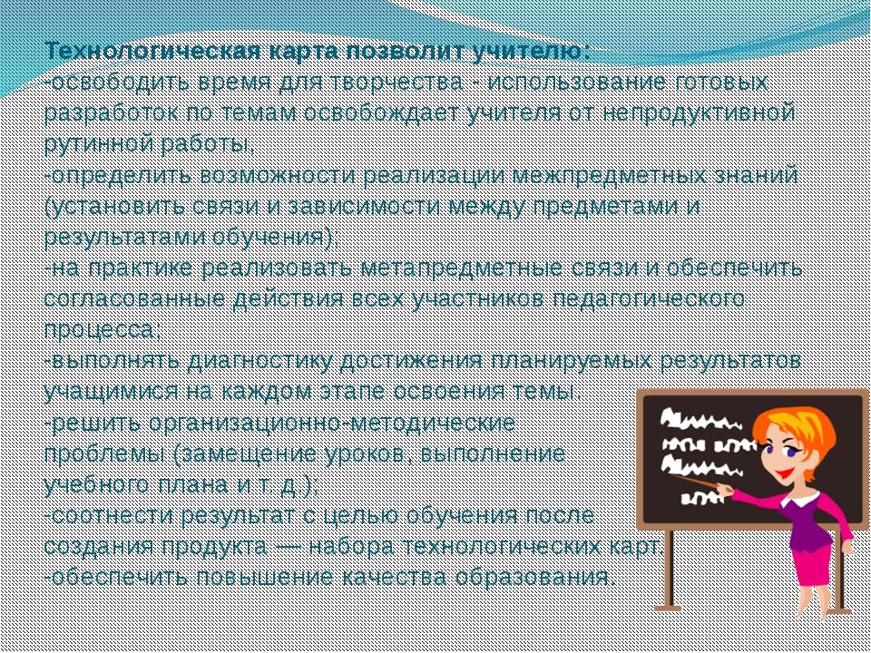 Технологическая карта позволит учителю: -освободить время для творчества - ис...