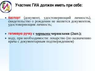 Участник ГИА должен иметь при себе: паспорт (документ, удостоверяющий личнос