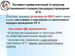 Регламент приёма апелляций по вопросам установленного порядка (процедуры) про