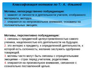 Классификация мотивов по Т. А. Ильиной Мотивы, непосредственно побуждающие: