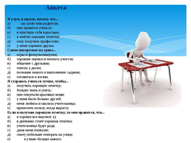 Анкета Я учусь в школе, потому что... а) так хотят мои родители; б)мне нрав...