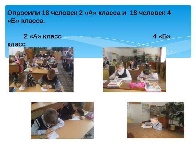 Опросили 18 человек 2 «А» класса и 18 человек 4 «Б» класса. 2 «А» класс 4 «Б»...