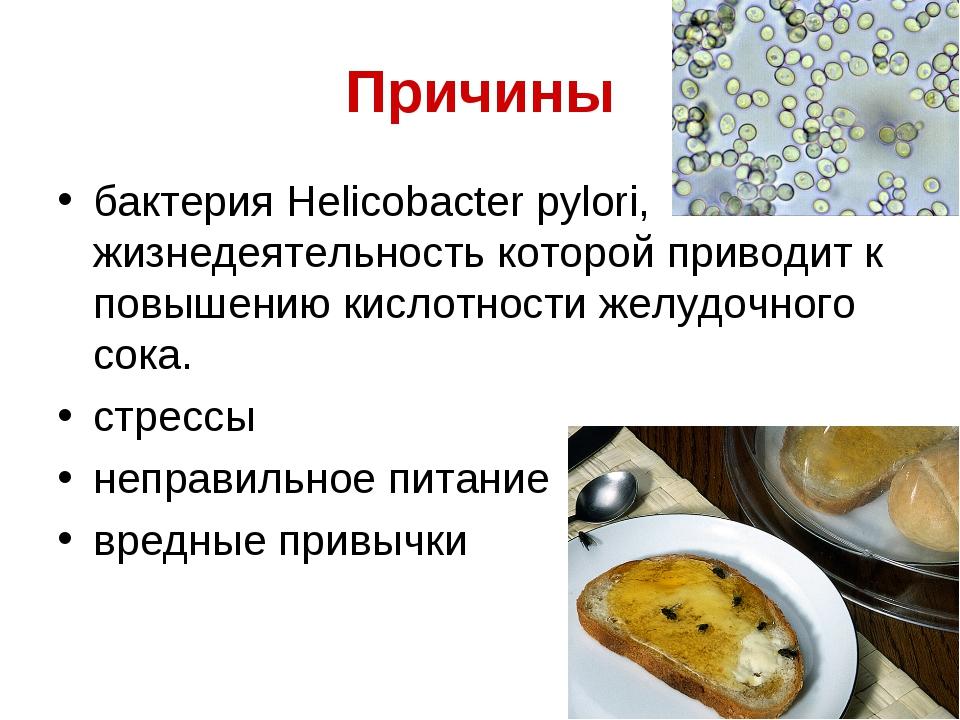 Причины бактерия Helicobacter pylori, жизнедеятельность которой приводит к по...