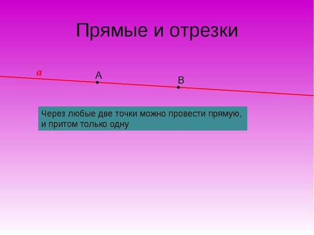 А В Прямые и отрезки Через любые две точки можно провести прямую, и притом то...
