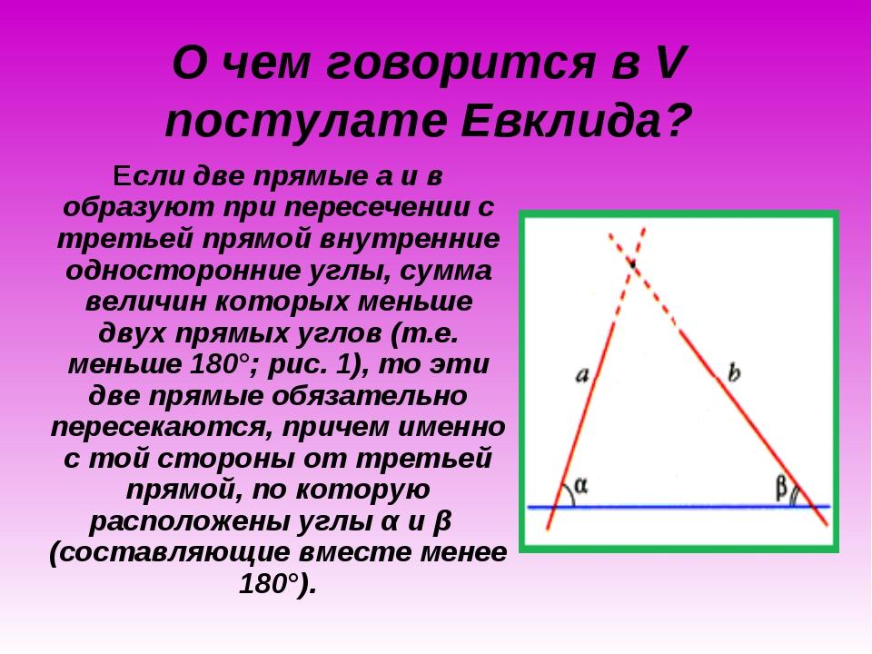 О чем говорится в V постулате Евклида? Если две прямые а и в образуют при пер...