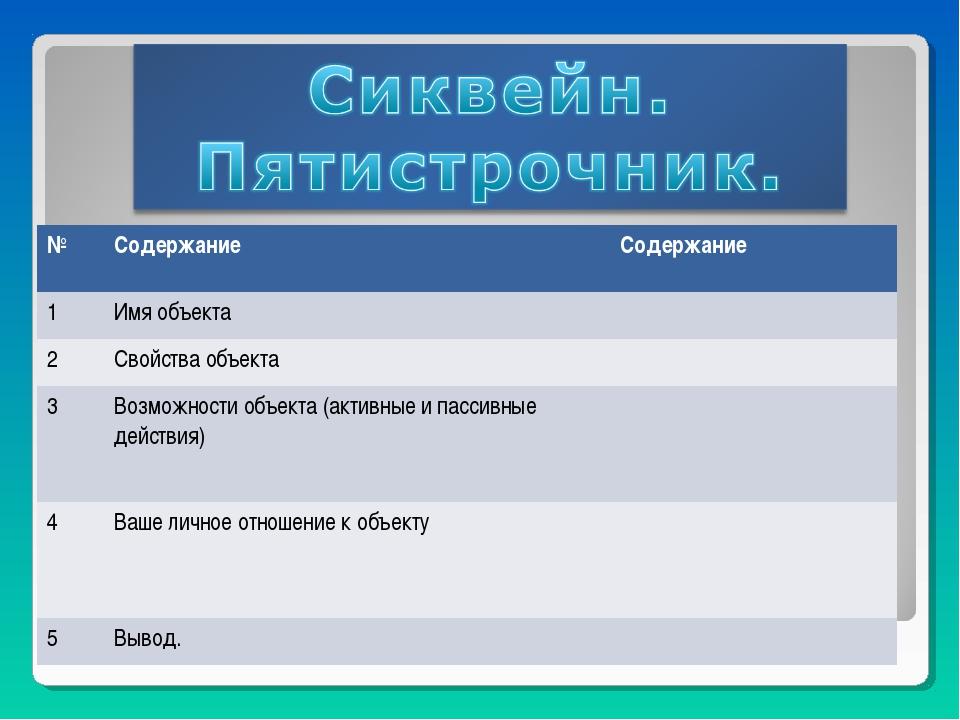 №СодержаниеСодержание 1Имя объекта 2Свойства объекта 3Возможности объе...