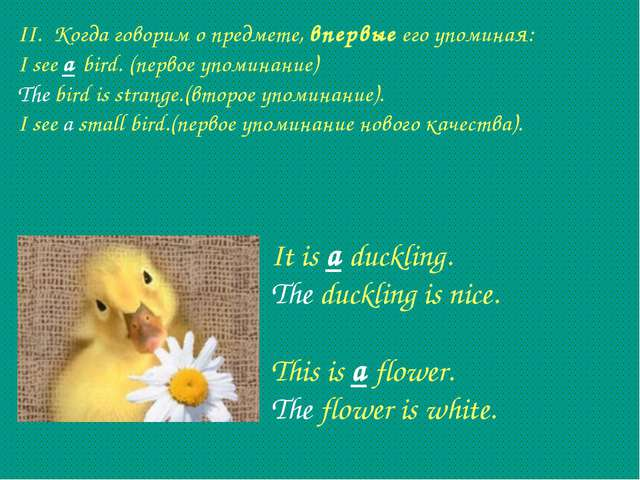 II. Когда говорим о предмете, впервые его упоминая: I see a bird. (первое упо...
