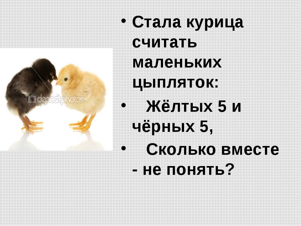 Стала курица считать маленьких цыпляток:  Жёлтых 5 и чёрных 5,  Сколько в...