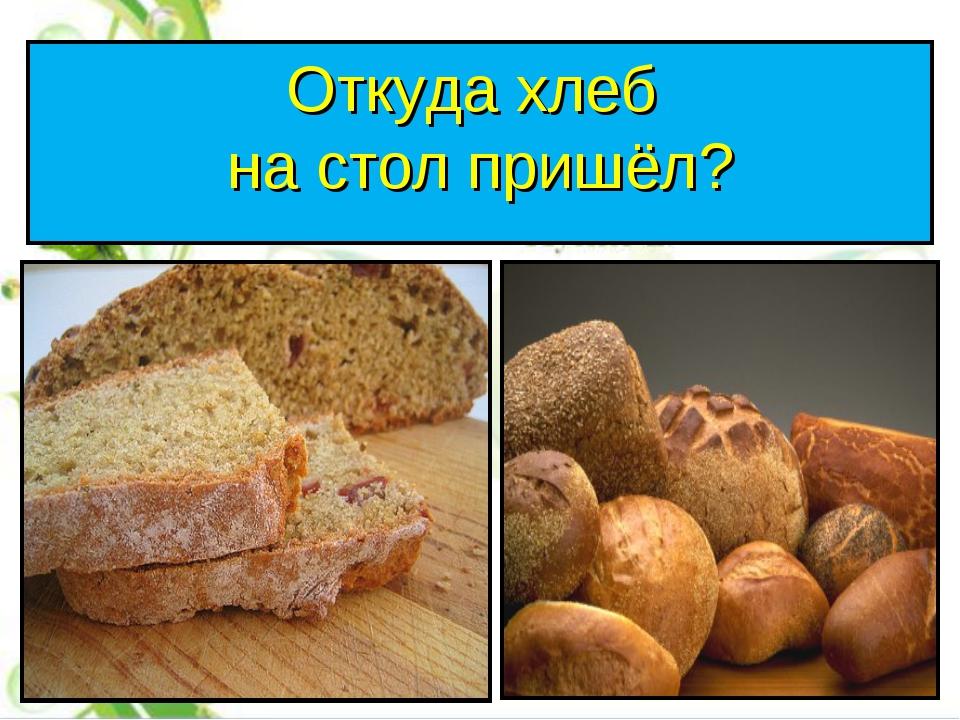 Откуда хлеб на стол пришёл?