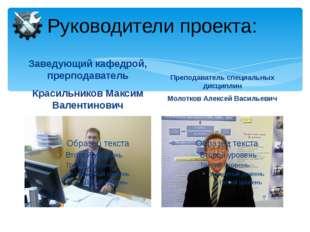 Руководители проекта: Заведующий кафедрой, прерподаватель Красильников Максим