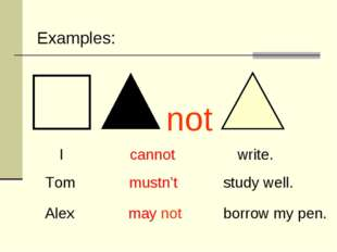 I cannot write. Tom mustn't study well. Alex may not borrow my pen. Examples