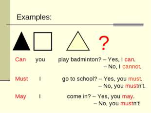 Can you play badminton? – Yes, I can. – No, I cannot. Must I go to school? –
