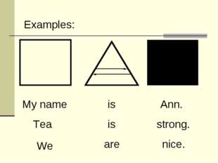 My name is Ann. Tea is strong. We are nice. Examples: