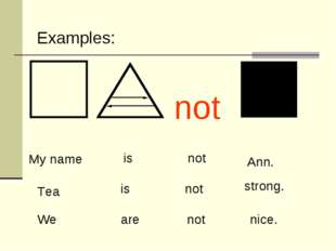My name is not Ann. Tea strong. We nice. Examples: not is not are not