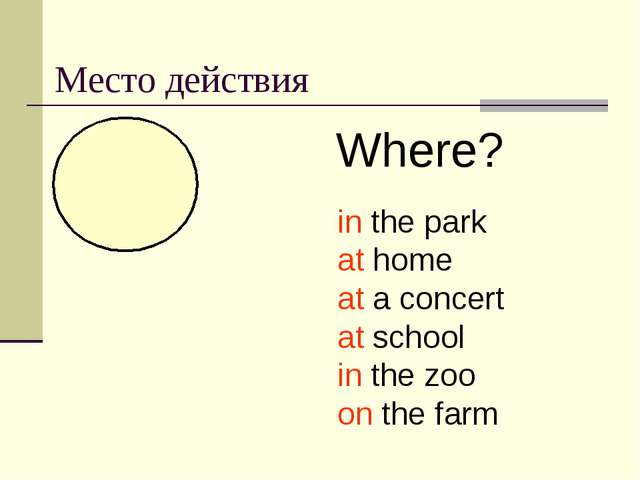 Место действия Where? in the park at home at a concert at school in the zoo o...