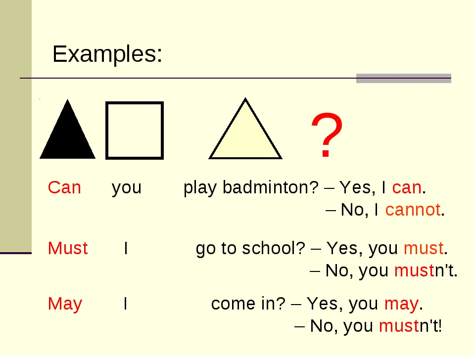 Can you play badminton? – Yes, I can. – No, I cannot. Must I go to school? –...