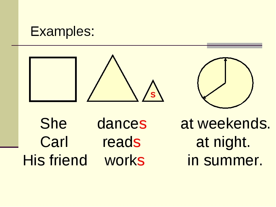 She dances at weekends. Carl reads at night. His friend works in summer. Exa...