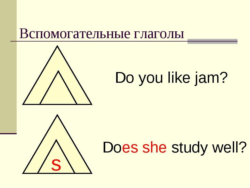 Вспомогательные глаголы Do you like jam? s Does she study well?