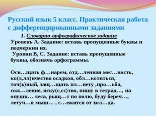 Русский язык 5 класс. Практическая работа с дифференцированными заданиями