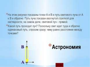 Астрономия На этом рисунке показаны точки A и B и путь светового луча от A к